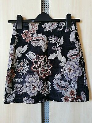 £2.50 • Buy Black & Purple Size 6 Floral Embroidered Zip Back Thick Winter Knee Length Skirt
