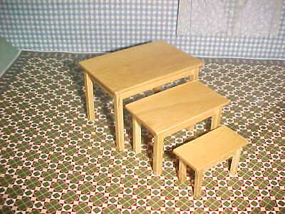 £3.50 • Buy Dolls House Pine Nest Of Three Tables