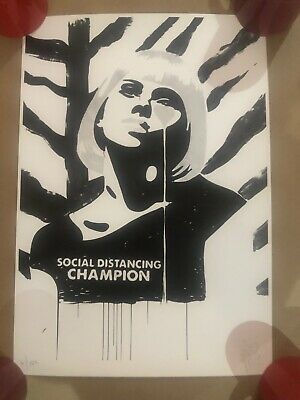 £109 • Buy PURE EVIL SCARLETT JOHANSSON/ 'SOCIAL DISTANCING' NUMBERED/ SIGNED PRINT 50X35cm