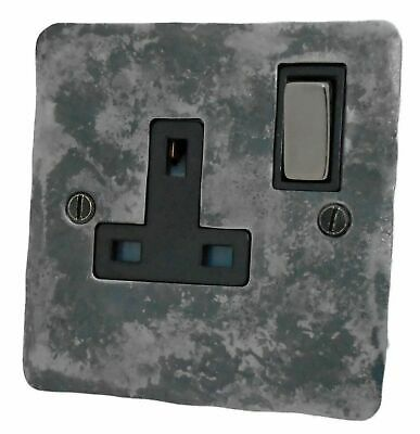 £20.50 • Buy G&H FR309 Flat Plate Rustic Silver 1 Gang Single 13A Switched Plug Socket