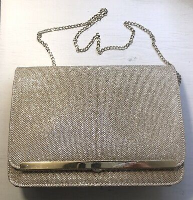 AU5 • Buy Forever New Bag- Vicky Clutch Gold Glitter, New With Tags, In Good Condition
