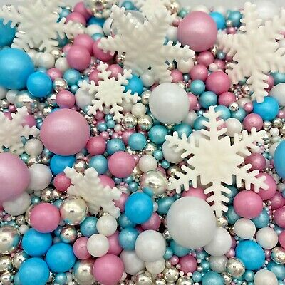 £7.99 • Buy Winter Ice & Snowflakes Christmas Cake Decorations Toppers Sprinkles Cakesicles