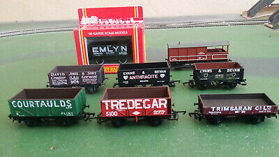 £42 • Buy 7x Private Owner Open Plank Wagons Themed On Collieries In Wales + GWR Brake Van