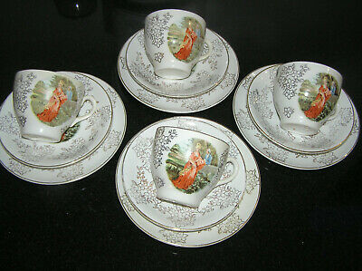 £22.10 • Buy Vintage 4 X Cup Saucer Plate Delphatic China Barratts England Courting Couple