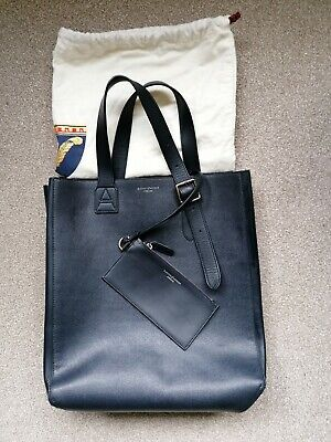 £80 • Buy Aspinal Of London Editor's Tote Bag In Navy Leather With Dust Bag Pre Owned