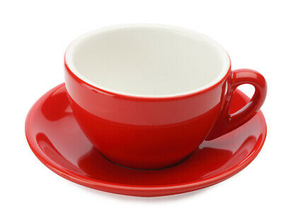 £11.95 • Buy Cappuccino Cups And Saucers Set Of 4 Porcelain Glossy Red Cafe Culture RRP 23.80