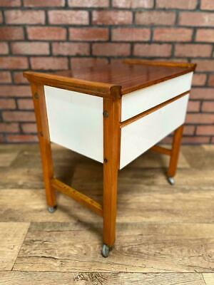 £59.99 • Buy Lovely Mid Century Teak Sewing Box/Occasional Table/Bedside, Handy Storage
