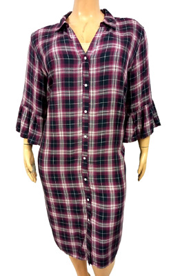 AU32.03 • Buy Isabel Maternity Blue Pink Plaid Elbow Bell Sleeves Buttoned T Shirt Dress 3X