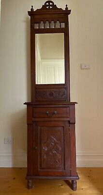 AU80 • Buy Timber/Teak Hall Stand/Cabinet/Cupboard With Mirror