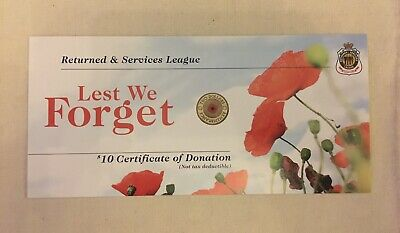 AU2.99 • Buy 1 X 2012 RSL Red Poppy $10 Certificate Of Donation Card (NO COIN INCL).