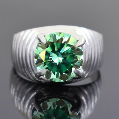 AU41.39 • Buy 5 Ct Certified Greenish Blue Diamond Solitaire Men's Ring Great Shine & Luster !