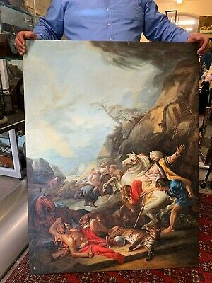 £750 • Buy Xl Classical Leopard Hunt Oil On Canvas