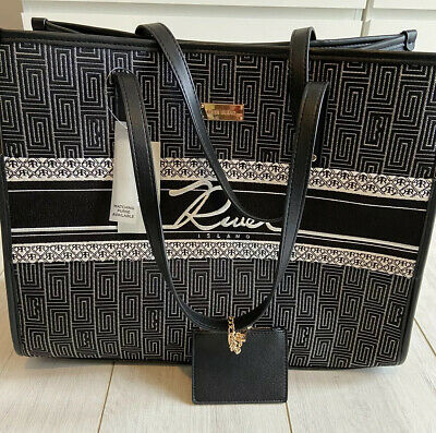 £25 • Buy River Island Embroidered Black And White Tote Bag. Small Mini Purse Inside BNWT.
