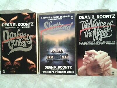 £2 • Buy THREE Dean R Koontz Horror Books Darkness Comes, Shattered, Voice Of The Night