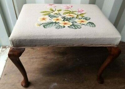 £15 • Buy Vintage Wooden Footstool Tapestry Top With Queen Anne Legs