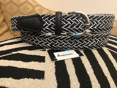 £29.99 • Buy Andersons Belt-black & White Braided Woven&blue Leather Sides-40 /100-italy-£95