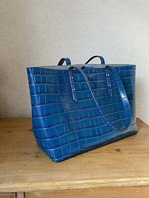 £155 • Buy Aspinal Of London Regent Croc Leather Tote Bag With Coin Purse. Blue Barely Used