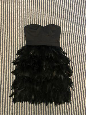 £6.50 • Buy Lipsy Feather Strapless Dress Size 6