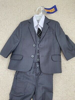 £12 • Buy Baby Boy Toddler Suit Grey White Shirt And Black Tie 18-23 Months 4 Piece Set