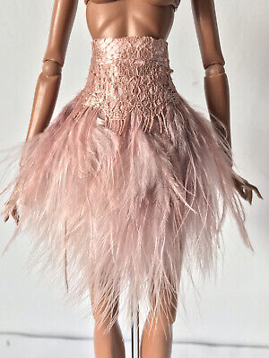 £30 • Buy Handmade Pink Ostrich Feather And Lace Skirt For Fashion Royalty Integrity Dolls