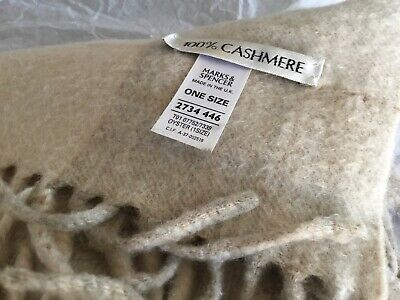 £7.99 • Buy Marks And Spencer 100% Pure Cashmere Scarf Finged Oyster Please See Photos