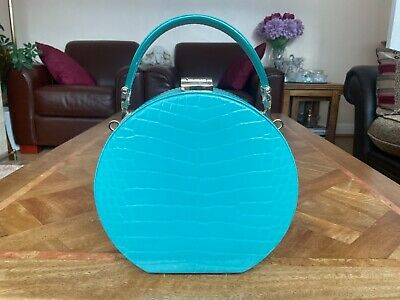 £350 • Buy New Aspinal Of London Hat Box Chalkhill Blue Patent Croc Clutch Bag In Gift Box