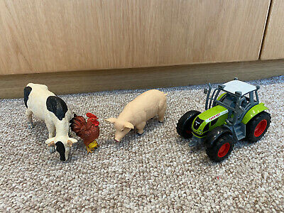 £4.99 • Buy Toy Farm Animals Figures X3, Cow, Pig & Chicken With Chick, Includes Tractor