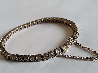 £50 • Buy Lovely Sterling Silver ? Sparkly Stones Tennis With Safety Chain Bracelet