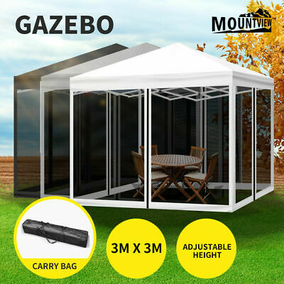 AU398 • Buy Mountview Gazebo Pop Up Marquee Outdoor Canopy 3x3m Wedding Tent Mesh Side Wall