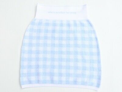 AU115 • Buy ALEXANDER WANG Women's Towel Cropped Gingham Skirt In Blue Size S