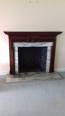£50 • Buy Solid Mahogany Carved Fire Surround With Marble Insert.