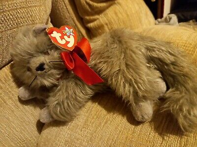 £5 • Buy TY Beanie Grey Persian Cat Wearing Red Ribbon Soft Plush Toy