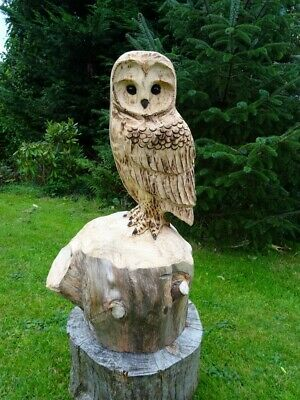 £78 • Buy Chainsaw Carving Owl Woodcarving  Barn Owl Garden Sculpture Individual Gift