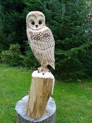 £80 • Buy Chainsaw Carving Owl Woodcarving  Barn Owl Garden Sculpture Individual Gift