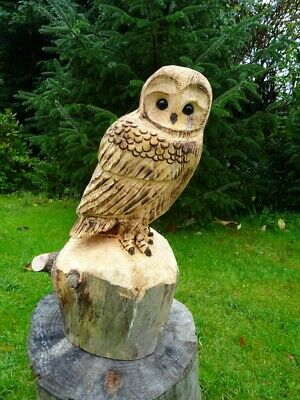 £50 • Buy Chainsaw Carving Owl Woodcarving  Barn Owl Garden Sculpture Individual Gift
