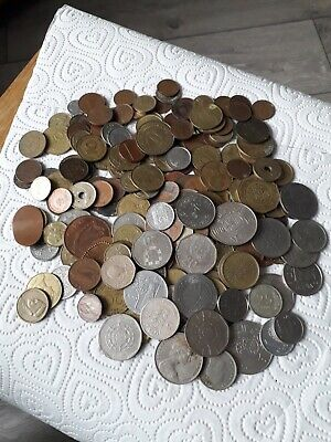£6.95 • Buy Large Joblot Of Foreign Coins. Lots Of White Metal Ones
