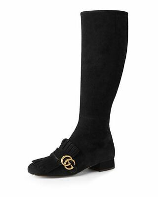 £360 • Buy Gucci New Authentic Marmont Tall Suede Kiltie Boots Size 36.5