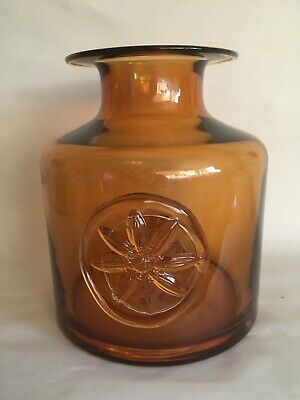 £28 • Buy Dartington Amber Art Glass Bottle Vase With Attached Clematis Seal