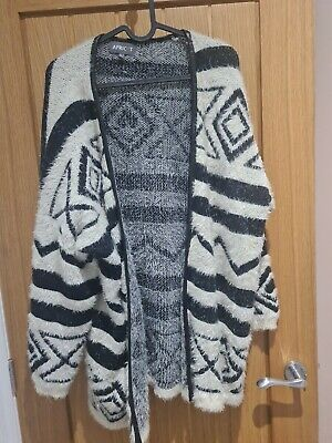 £6.80 • Buy Mohair Jacket Aztec Black And White Pattern Apricot 12 Oversized