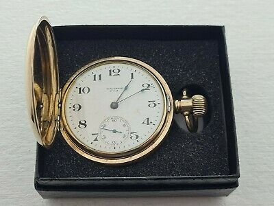 £195 • Buy Antique 1905 Waltham USA Full  Hunter Gold Plated  Pocket Watch Working Box Rare