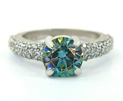AU8.08 • Buy 3 Ct Certified Blue Diamond Solitaire Ring With Accents, Great Shine & Luster !