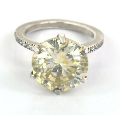 AU58.15 • Buy RARE 9.05 Ct Certified Off White Diamond Solitaire Ring Great Shine WATCH VIDEO
