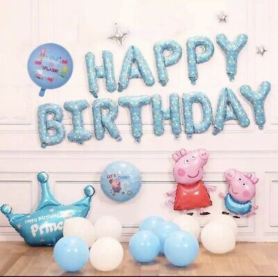 £16.99 • Buy Peppa Pig Party Decoration Cartoon Theme Peggy George Foil Balloons 31 Pieces