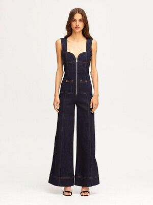 AU125 • Buy Alice Mccall Bloomsbury Jumpsuit Long Pant Indigo Navy With Zipper Size 4, New!