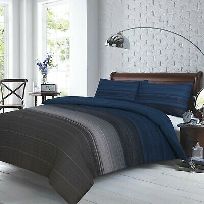 £47.69 • Buy Grey Black Blue Stripes Doona Cover Set King Size Bed Quilt Cover Pillowcase