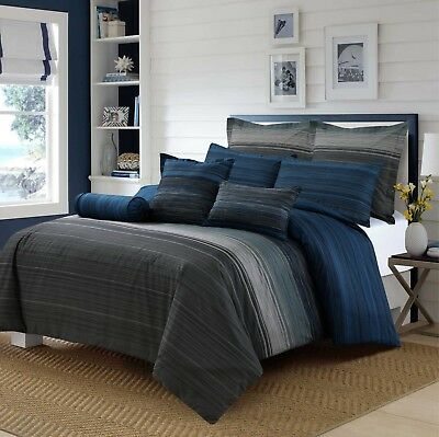 £47.69 • Buy King Size Bed Quilt Cover Pillowcase Grey Black Blue Stripes Doona Cover Set