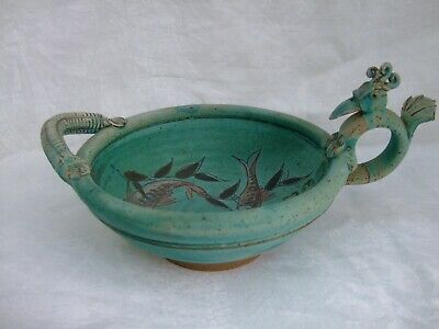 £15 • Buy A Unusual Mike Goddard Studio Pottery Quirky Bird Handled Bowl Swimming Fish1970