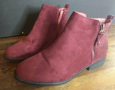 £10.50 • Buy Ladies Burgundy Suede Ankle Boots Size 8 Worn Once Zip Up