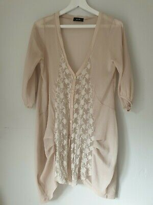 £4.99 • Buy Topshop Concessions Yuki Cream Beige Lace Cover Up Dress Top S/m