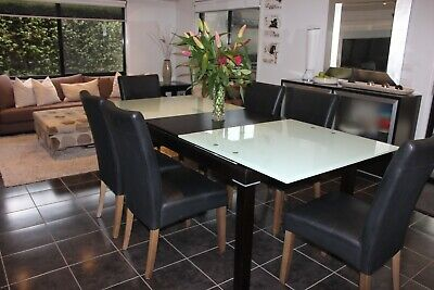 AU700 • Buy Adriatic Dining Table Extendable Tempered Glass And Timber 8 Black Kent Chairs!!